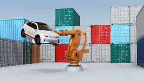 Heavyweight robotic arm carrying white SUV in cargo containers yard. 3D rendering animation stock footage
