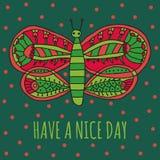 Heb een aardige dag wensend kaart Leuke vlinder met helder kleurrijk ornament in beeldverhaalstijl Stock Foto
