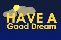 Heb een goede droom stock afbeeldingen
