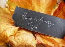Heb een mooie dag - de achtergrond van de herfstbladeren royalty-vrije stock fotografie