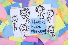 Heb een Uitdrukking van de het Weekend Gelukkige Nota van Nice stock afbeeldingen