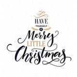 Heb zelf vrolijk weinig Kerstmis De kaart van de typografiegroet met overladen moderne kalligrafie stock illustratie
