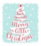 Heb zelf vrolijk weinig Kerstmis Groetkaart met kalligrafie in de vorm van Kerstmisboom Uitstekende stijlprentbriefkaar Stock Foto's