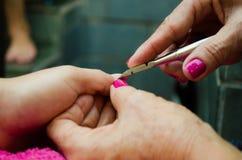 Hebbend de spijkers met mooie roze kleuren worden gedaan die spijker gebruiken die cutt royalty-vrije stock foto's