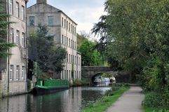 Free Hebden Bridge With The Rochdale Canal, Towpath Boats And Buildings Stock Images - 105234914