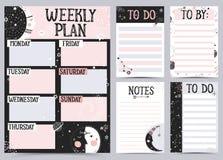 Hebdomadaire et planificateur quotidien illustration stock