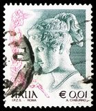 `Hebe`, Antonio Canova, Women in Art 1998-2004 serie, circa 2002. MOSCOW, RUSSIA - FEBRUARY 21, 2019: A stamp printed in Italy shows `Hebe`, Antonio Canova royalty free stock photography