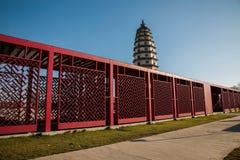 Hebei landskap, en av inskrifter för det SamboDingzhou tornet visar gallerit Fotografering för Bildbyråer