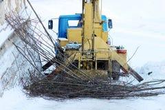 heben Sie durch an, welche Arbeitskräfte Niederlassungen des Baumkalkes im Park im Winter schneiden Stockfotografie