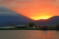 Heber Valley farm sunset. Stock Images