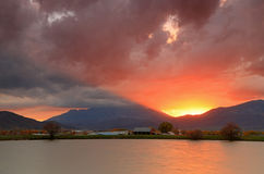Heber Valley farm sunset. Royalty Free Stock Photography
