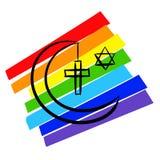 Hebraizmu islamu chrystianizmu symboli/lów pokoju flaga szkicowy odosobniony Zdjęcie Stock