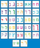 Hebrew alphabet. Colored Hebrew alphabet in white square stock illustration
