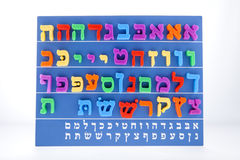 Hebrew Alphabet. A board with the Hebrew Alphabet against a white background royalty free stock image