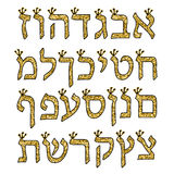 Hebrew alphabet gold. Hebrew font with crowns Stock Image