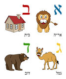 Hebrew Alphabet for Kids [1]. Hebrew alphabet for kids: letters Aleph, Beth, Gimel and Daleth with four cute cartoon drawings representing a lion, a house, a vector illustration