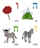 Hebrew Alphabet for Kids [2]. Hebrew alphabet for kids: letters He, Waw, Zayin and Heth with four cute cartoon drawings representing a mountain, a rose, a zebra stock illustration