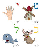 Hebrew Alphabet for Kids [3]. Hebrew alphabet for kids: letters Teth, Yod, Kaph and Lamed with four cute cartoon drawings representing a windmill, a human hand vector illustration