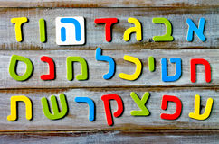 Hebrew alphabet letters and characters background. Foreign language education concept stock photography