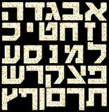Hebrew Alphabet letters with a Matzo flatbread. Each Letter at about 1200x1200 pixels resolution is isolated on black background to support easy cut and paste of royalty free stock image