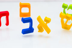 Hebrew Colorful letters Alphabet close up Stock Photography
