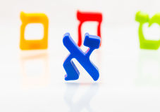 Hebrew Colorful letters Alphabet close up. Hebrew Colorful letters Alphabet Education stock photo