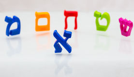 Hebrew Colorful letters Alphabet close up Stock Images