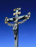 Hebrew cross. Close up of cross with Hebrew inscription on the Charles Bridge, Prague, Czech  Republic Stock Images