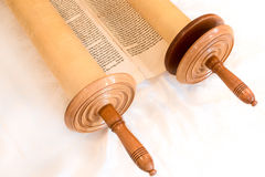 The Hebrew handwritten Torah scroll, on a synagogue alter Royalty Free Stock Photo