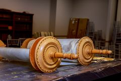 The Hebrew handwritten Torah, Talmud scroll on a synagogue. Alter, illustrating Jewish holidays Royalty Free Stock Image