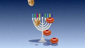 Hebrew Happy Hanukkah greetind animation video. Menora with colorful candles, dridels with Hebrew letters and donuts on dark blue background and snow