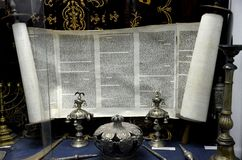 Hebrew scroll and religious objects at Jewish Historical Museum Belgrade Serbia Royalty Free Stock Photos
