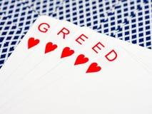 Hebzucht in casino stock afbeeldingen