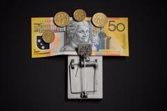 Hebzucht en verleidings financiële val stock afbeeldingen