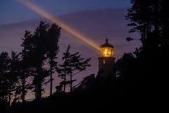 Heceta gehen Leuchtturm nachts voran, im Jahre 1892 aufgebaut Stockbilder