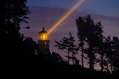 Heceta gehen Leuchtturm nachts voran, im Jahre 1892 aufgebaut Stockfotos