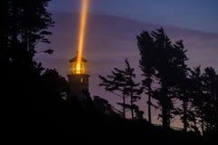 Heceta gehen Leuchtturm nachts voran, im Jahre 1892 aufgebaut Lizenzfreies Stockbild