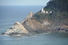 Heceta Head Light Station near Florence, Oregon. Heceta Head is named for Bruno de Heceta, a Spanish navigator and explorer, who surveyed the Oregon coast in stock image