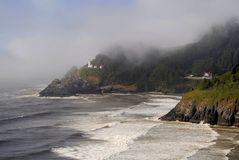 Heceta Head Lighthouse & Residence. The working lighthouse at Heceta Head and the lightkeeper's residence Royalty Free Stock Photos