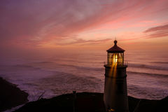 Heceta Head Lighthouse at sunset, built in 1892 Royalty Free Stock Image
