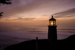 Heceta Head Lighthouse at sunset, built in 1892. Heceta Head Lighthouse at sunset, Pacific coast, built in 1892, Oregon, USA stock image