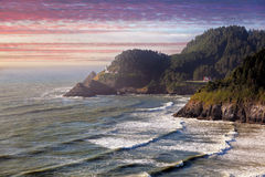 Heceta Head Lighthouse at Sunset Royalty Free Stock Images