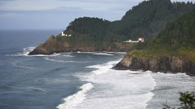 Heceta Head Oregon Coast Lighthouse Nautical Beacon USA stock video