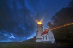 Heceta-Kopf-Leuchtturm, der blaue Stunde glättet Stockbild