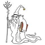 Hechicero medieval del mago de la fantasía del vector de la historieta o consejero real libre illustration
