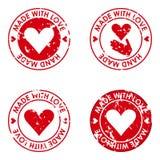 Hecho con amor y el sistema hecho a mano del concepto de los sellos para el uso en desig Fotos de archivo