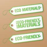 Hecho con las escrituras de la etiqueta respetuosas del medio ambiente de los materiales. Fotos de archivo