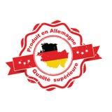 Hecho en Alemania, insignia superior de la lengua francesa de la calidad Fotografía de archivo libre de regalías