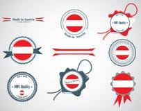 Hecho en Austria - sistema de sellos, insignias Foto de archivo