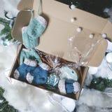 Hecho en casa adorne el regalo de la Navidad Foto de archivo libre de regalías